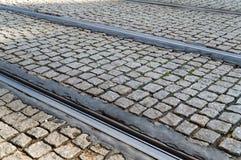 Tram rails laid cobblestones on the streets of Prague. Czech Republic Royalty Free Stock Photo