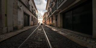 Tram rails. Lisbon. Old city. Portugal. Trams of Lisbon. Tram rails. Streets of Alfama stock image
