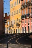 Tram rails in Lisbon, Portugal Royalty Free Stock Image