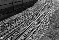 Tram rails - Lisbon Portugal Royalty Free Stock Photos
