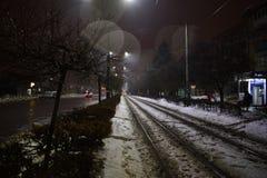Tram rails. Night tram rails, Ukraine, Zhytomyr Stock Photo