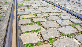 Tram rails and rectangular and square cobbles stones with grass Royalty Free Stock Images