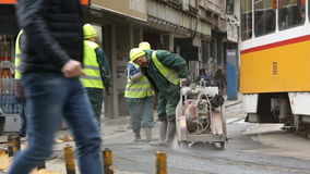 Tram rails workers stock video footage