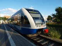 Tram Railway. Electric train from Polish to Germany Royalty Free Stock Image