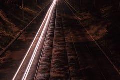 Tram railway at night Royalty Free Stock Photos