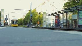 Tram railway platform in the street of Berlin city stock video footage
