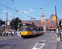 Tram and railway station, Amsterdam. Royalty Free Stock Photography