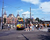 Tram and railway station, Amsterdam. Stock Photography