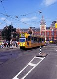 Tram and railway station, Amsterdam. Stock Images