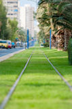 Tram railways closeup decorated by green grass. The tram railways closeup decorated by green grass Stock Photos