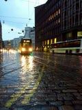 Tram in the rain Stock Image