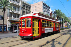 Tram. Red Tram America USA Transportation Train Line Royalty Free Stock Photography