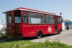 Tram. A red tourist tram waiting at the harbour in Kingston royalty free stock photos