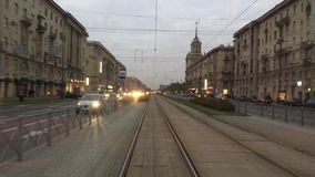 Tram ride along the Moscow prospect in St. Petersburg stock footage