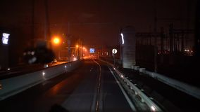 The tram rides across the bridge. Inside shot stock video footage