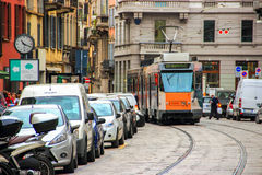 Tram rides through the Cusani street Stock Image