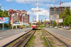 Tram rides on Lenin Avenue in Samara, Russia Stock Image