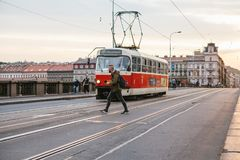 Prague, September 23, 2017: The tram is riding down the street in the city. Traditional street public transport in Royalty Free Stock Photos