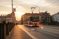 Prague, September 23, 2017: The tram is riding down the street in the city. Traditional street public transport in Royalty Free Stock Image