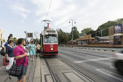 The tram in the ring in Vienna Royalty Free Stock Image