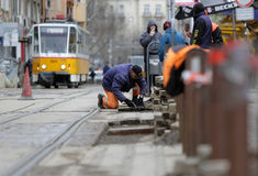 Tram road workers repair repairing Stock Photography
