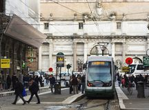 Tram in Rome. Rome, Italy, april 7, 2017: Tram in via Flaminia with Piazza del Popolo in the distance Royalty Free Stock Photos