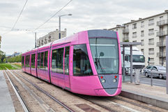 Tram rosa a Reims Fotografia Stock