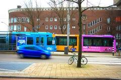 Tram in Rotterdam city Royalty Free Stock Photo