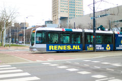 Tram in Rotterdam city Netherlands Royalty Free Stock Images