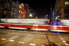 Tram route lights at night Stock Photography