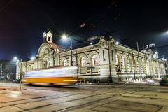 Tram route lights at night Royalty Free Stock Images