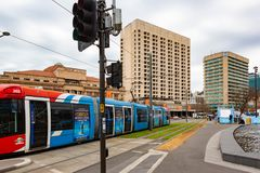 The tram running along King William Street in adelaide south aus Stock Photos