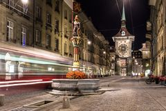 Tram Rushes In The Street Of Bern Royalty Free Stock Image
