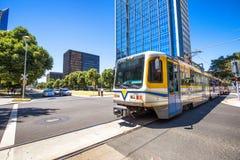 Tram Sacramento. A modern tram in downtown Sacramento, California royalty free stock photos