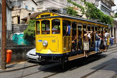 Tram in Santa Teresa, Brazil stock images
