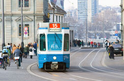 The tram is always on the Schedule, Zurich. Royalty Free Stock Photos