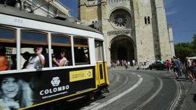 Tram 12 and Se Cathedral stock footage