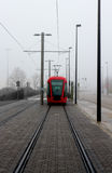 Tram. Seen on the front fog Royalty Free Stock Image