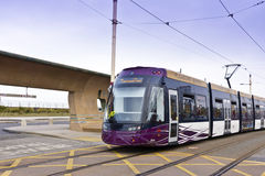 Tram am Seeseitenerholungsort von Blackpool Lizenzfreie Stockbilder