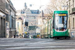 Tram on service in Basel, Switzerland Royalty Free Stock Photo