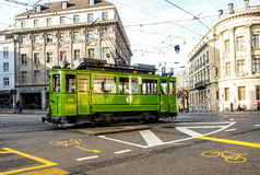 Tram on service in Basel, Switzerland Royalty Free Stock Images