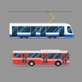 Tram set flat design. vector city transportation Royalty Free Stock Photos