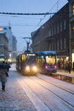 Tram in snow. Tram in Zagreb at winter under the windy winter storm Royalty Free Stock Photos