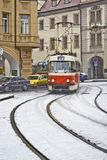 Tram in snowfall. Tram in Prague (Czechia) during snowfall Royalty Free Stock Images