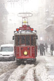 Tram on snowy istiklal street Stock Photos