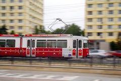 Penning. Speeding tram - Iasi, Romania Royalty Free Stock Photos