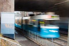 Tram speeding. Swedish tram speeding away fast royalty free stock photos