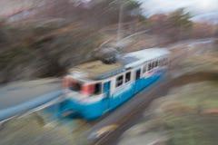 Tram speeding. Swedish tram speeding away fast Stock Image