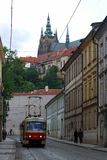 Tram & St Vitus Cathedral, Prague Czech Republic Stock Photos