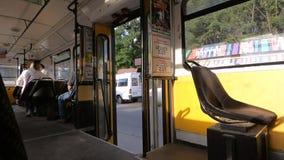 Tram stands with open doors stock video footage